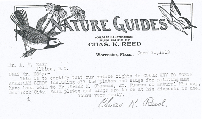 "It explains that, starting with the publication of a revised version of the book ""Color Key to North American Birds"" in November 1912, Chester A. Reed's ..."